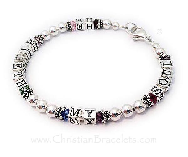 He Hideth My Soul Message Bracelet with Multiple colored crystals - CB-Message-2