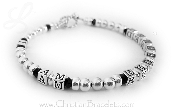I am redeemed bracelet with black crystals