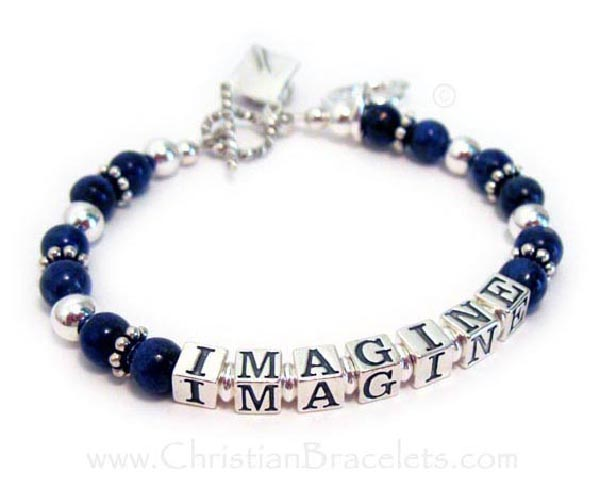 Imagine Inspirational Message Bracelet with Lapis Lazuli beads and sterling silver beads that spell IMAGINE