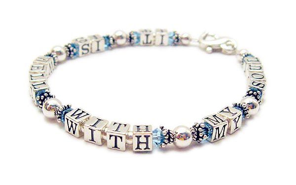 It is well with my soul bracelet with March or Aquamarine Crystal