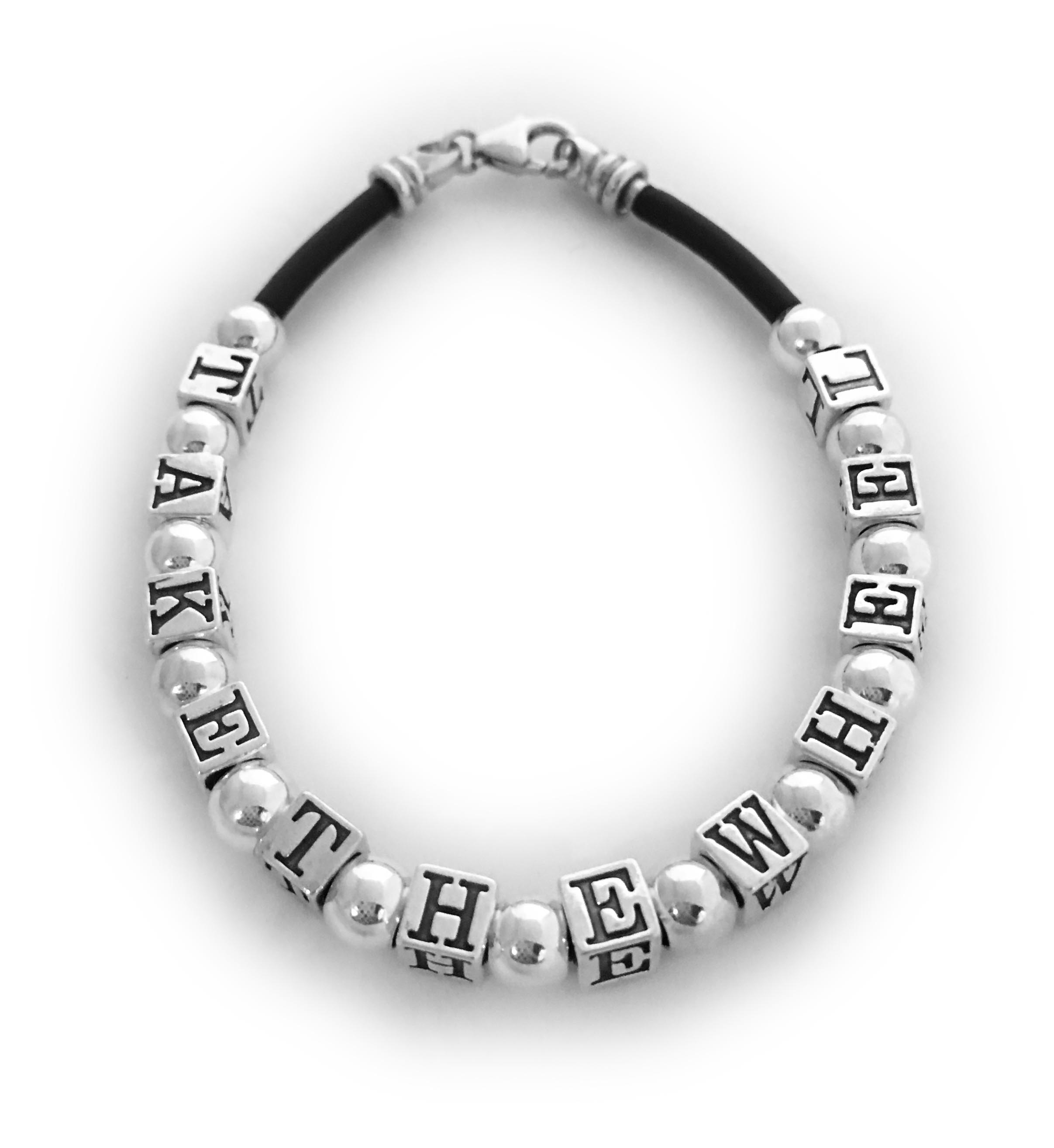 "This is a Special Order ""Take the Wheel"" Bracelet. They added 6mm round sterling silver beads inbetween each letter. Call/text/email me to place a Special Order."