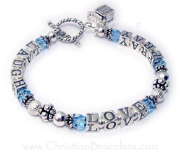 Love Laugh Pray Bracelet (sterling silver) with Aquamarine or March Birthstones. They added a Prayer Box Charm to their cart.