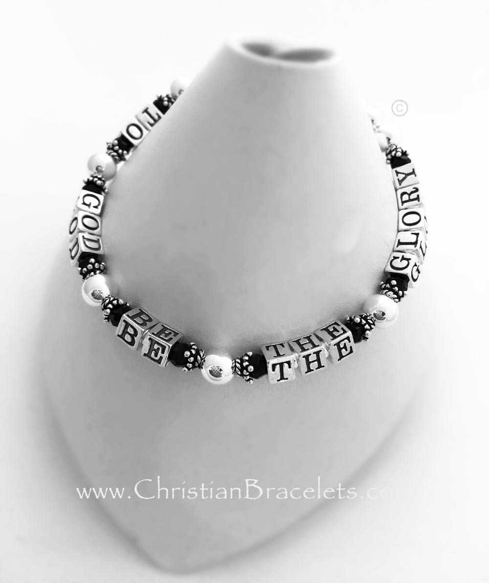 To God Be The Glory message bracelet with black crystals