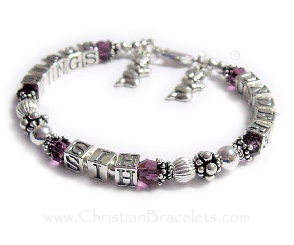 Under His Wings Bracelet - Message Bracelets with 2 Praying Boy Charms