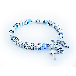 Under His Wings Bracelet - Message Bracelets with December Swarovski Cross Charm Paw Print Charm