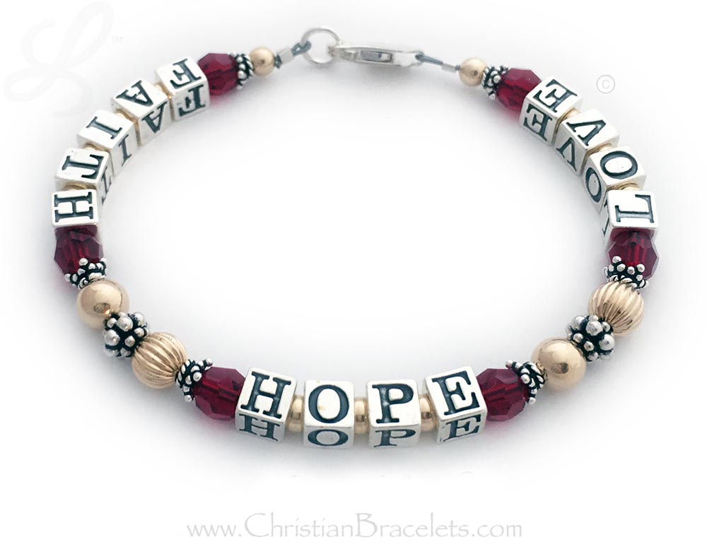 Gold Faith Hope Love Ruby or July Birthstone Bracelet with Red or Ruby Swarovski Crystals