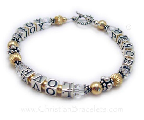Gold Peace Love Joy Bracelet with Clear Swarovski Crystals