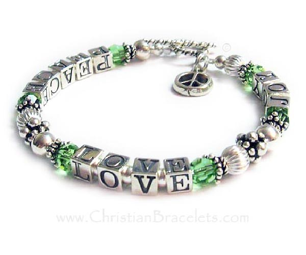 Peace Love Joy Sterling Silver Bracelet with Peace Sign Charms