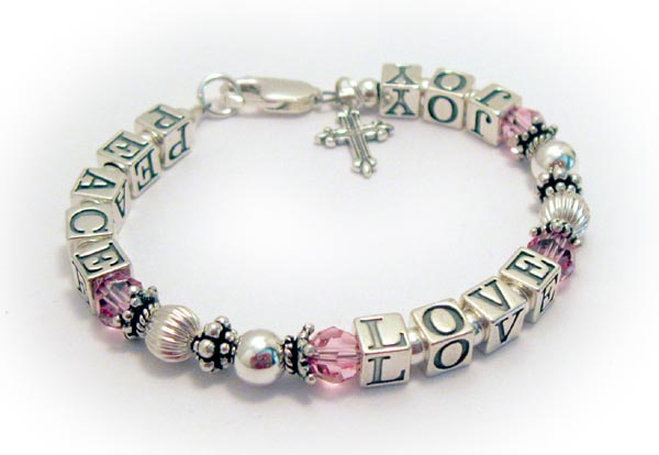 Peace Love Joy Bracelet with PINK Crystals