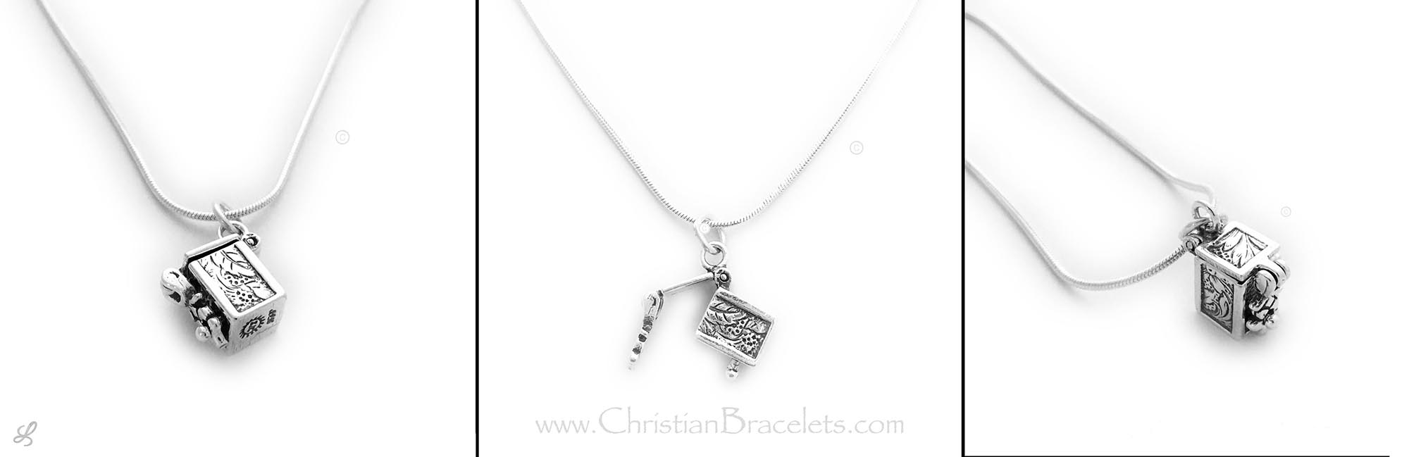 Sterling Silver Prayer Box Charm on a Sterling Silver Chain