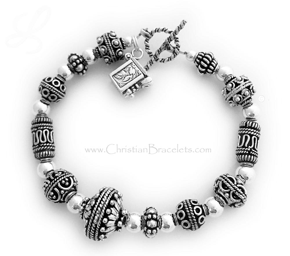 CB-Chunky Prayer Box Bracelet with a Prayer Box Charm  This is a all sterling silver Bali style beaded Prayer Box Bracelet. The square prayer box is hinged so you can open it up and whisper or put a written prayer inside. They picked one of my free Twisted Toggle Clasps.