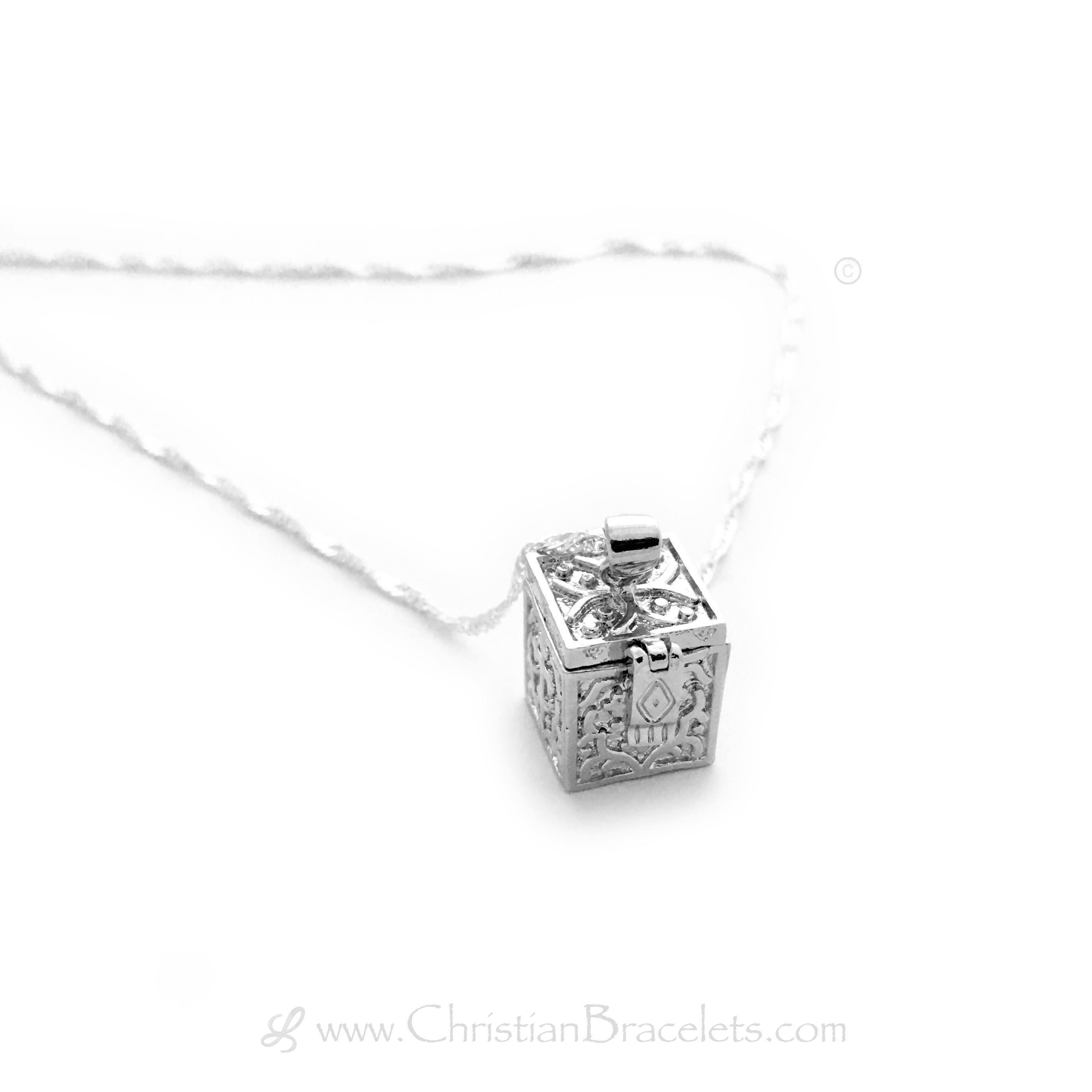 Silver Prayer Box Necklace on a silver chain