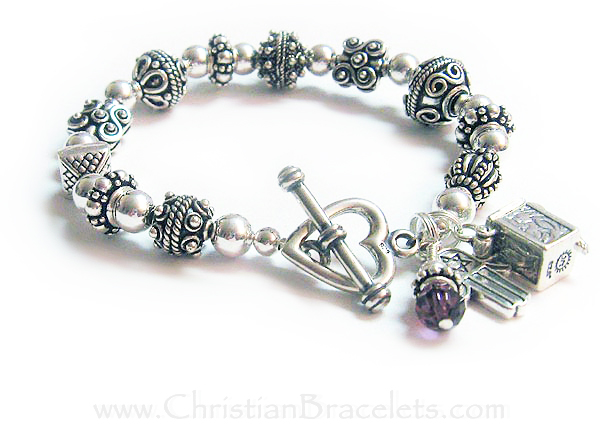 This Blessing Box Bracelet is shown with an upgraded clasp: Heart Toggle Clasp This is a sterling silver Bali style beaded Blessing Box bracelet. The sterling silver square prayer box is hinged so you can open it up and whisper or put a written prayer inside. They added 2 additional charms to their order: A February or Amethyst Birthstone Crystal Dangle and a Hamsa Hand Charm.