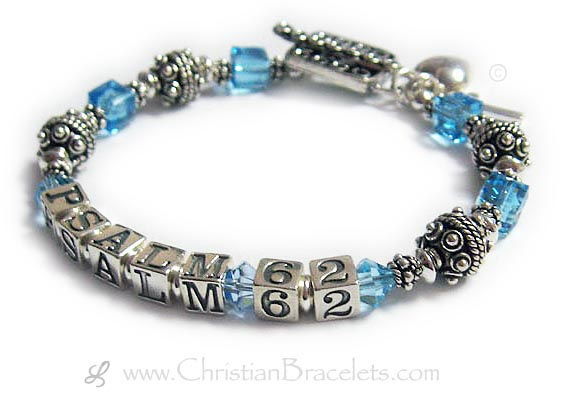 Psalm 62 Bracelet™ with March Birthstone Crystals, a Square Toggle Clasp. It is shown with an optional puffed heart charm an simple cross charm .