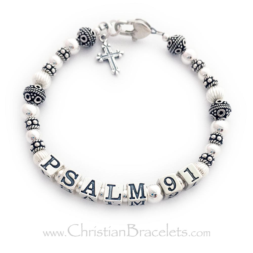 CB-Psalm24-Sterling  They picked .925 Sterling Silver, the Heart Lobster Claw Clasp, spelled out Psalm 91 and added the Fancy Cross Charm. I used the larger 5.5mm block letters.