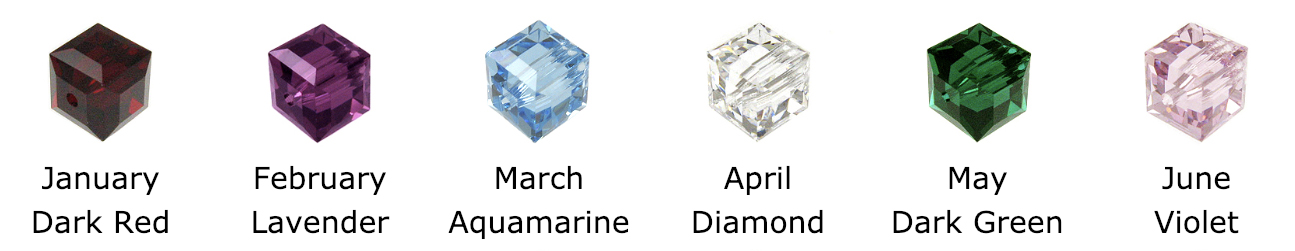 Swarovski Crystals Square or Cube - Colors include: January, Dark Red, Garnet, February, Violet, Amethyst, March, blue-green, Aquamarine, April, clear, diamond, May, dark green, emerald, June, purple, pearl