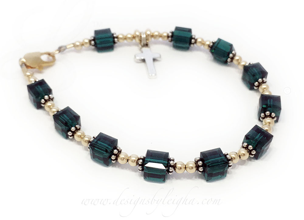 Gold May Emerald Rosary Bracelet with 14k gold-filled beads