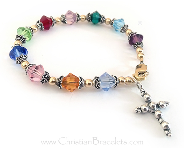 Large Rosary Bracelet with Beaded Cross Charm