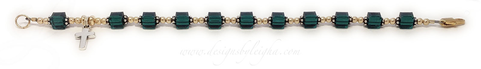 CB - Rosary 3 (14k Gold-filled beads)This Rosary Bracelet is shown with 14k gold-filled beads and 14k gold-plated lobster claw clasp. They picked May or Emerald 6mm Square Birthstone Crystals.