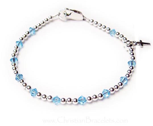 Simple Rosary Birthstone Bracelet with a Tiny Cross Charm #5 shown with March Birthstones CB-Rosary-5