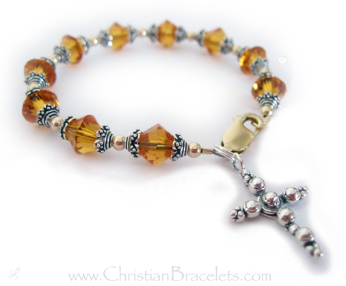Large November Birthstone Rosary Bracelet with Beaded Cross Charm - CB-Rosary-6 - Golden Topaz