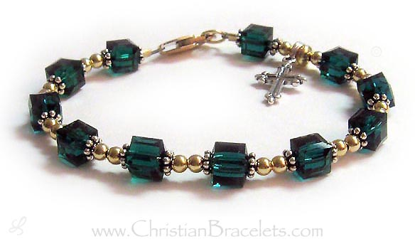 May Emerald Rosary Bracelet with 14k gold-filled beads