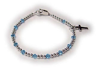 Simple Rosary Bracelet with a sterling silver cross