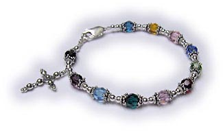 Multi Colored Rosary Bracelet with a sterling silver cross