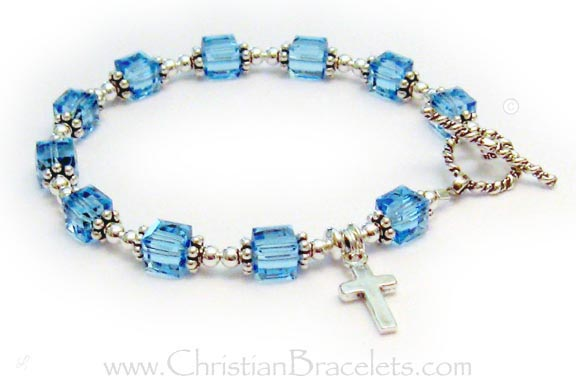 March Birthstone or Aquamarine Crystal Birthstone Rosary Bracelet - CB-Rosary-3