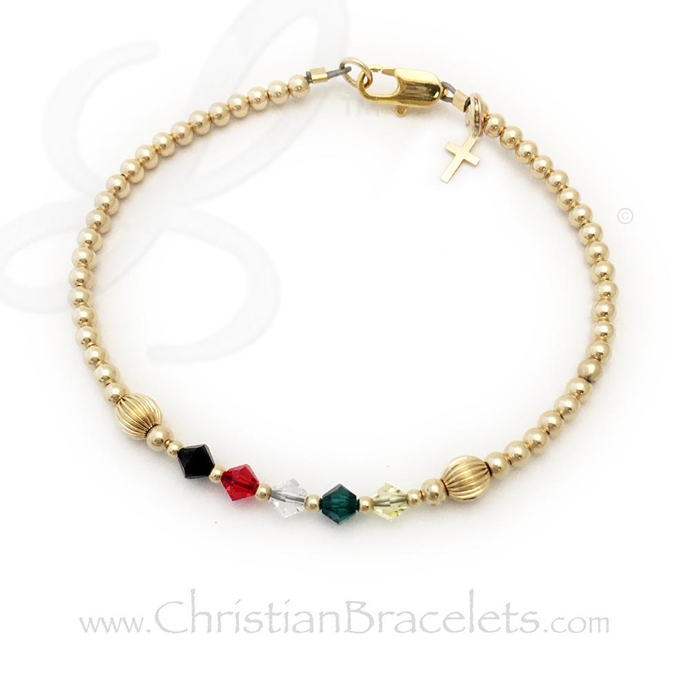 Gold Salvation Bracelet™ with genuine Swarovski crystals. Shown with 14k gold-filled beads, a 14k gold-plate lobster clasp and it includes a 14k gold-filled Cross charm.