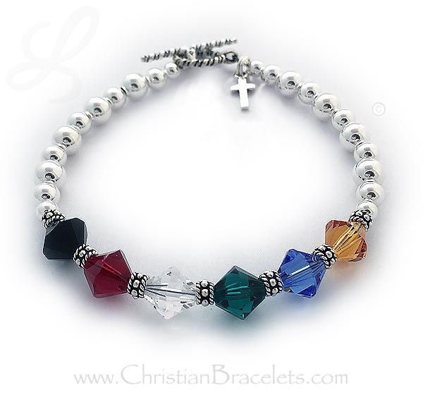 8mm Sterling silver salvation bracelet with a cross charm