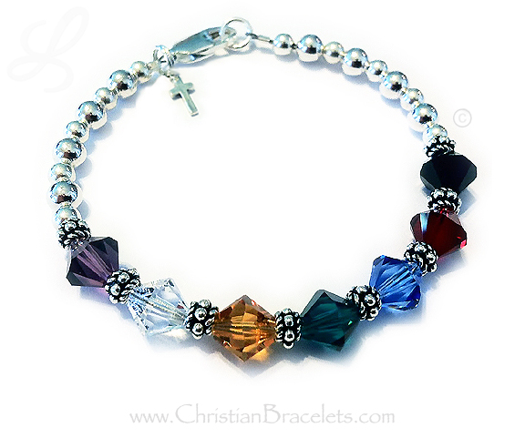 "8mm bicone/Diamond Salvation Bracelet with a sterling silver cross charm - CB-Sal4 Enter: ""Pur, Clr, Gld, Grn, Blu, Red, Blk"""