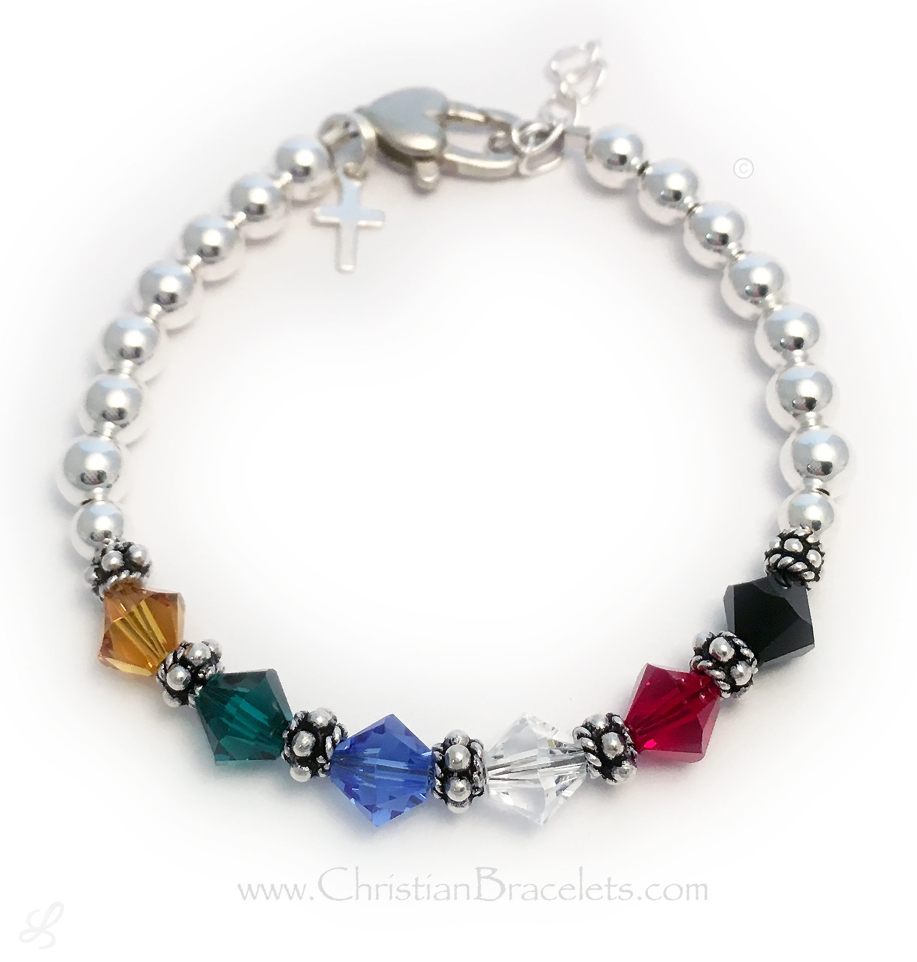 An upgraded Heart Lobster claw clasp with an Extension is shown with 6mm (special order) diamond shaped Swarovski crystal Salvation Bracelet above. The Tiny Sterling Sterling Cross CCharm is included in the price.