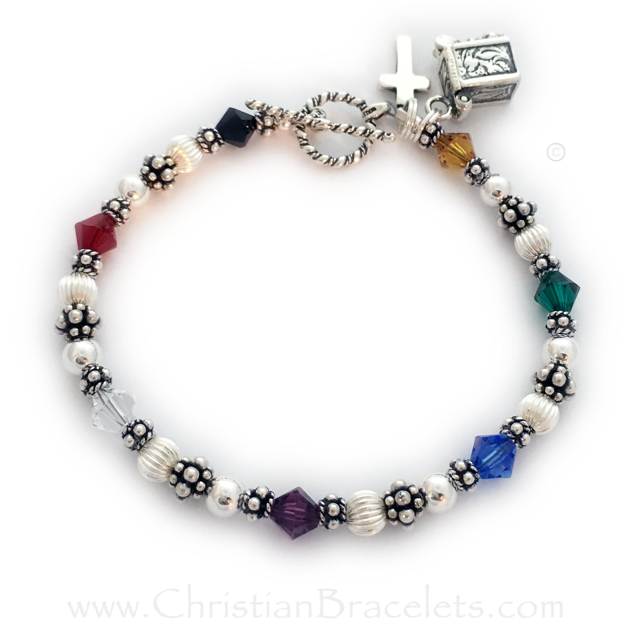 Bali Bicone Salvation Bracelet with a Cross Charm with a Twisted Toggle Clasp. CB-Salvation-5-Sterling-Silver *Shown with 1 add-on charm: Prayer Box Charm*