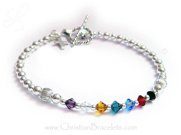 Small or Petite Sterling Silver and Crystal Salvation Bracelet Number 1 with a cross charm
