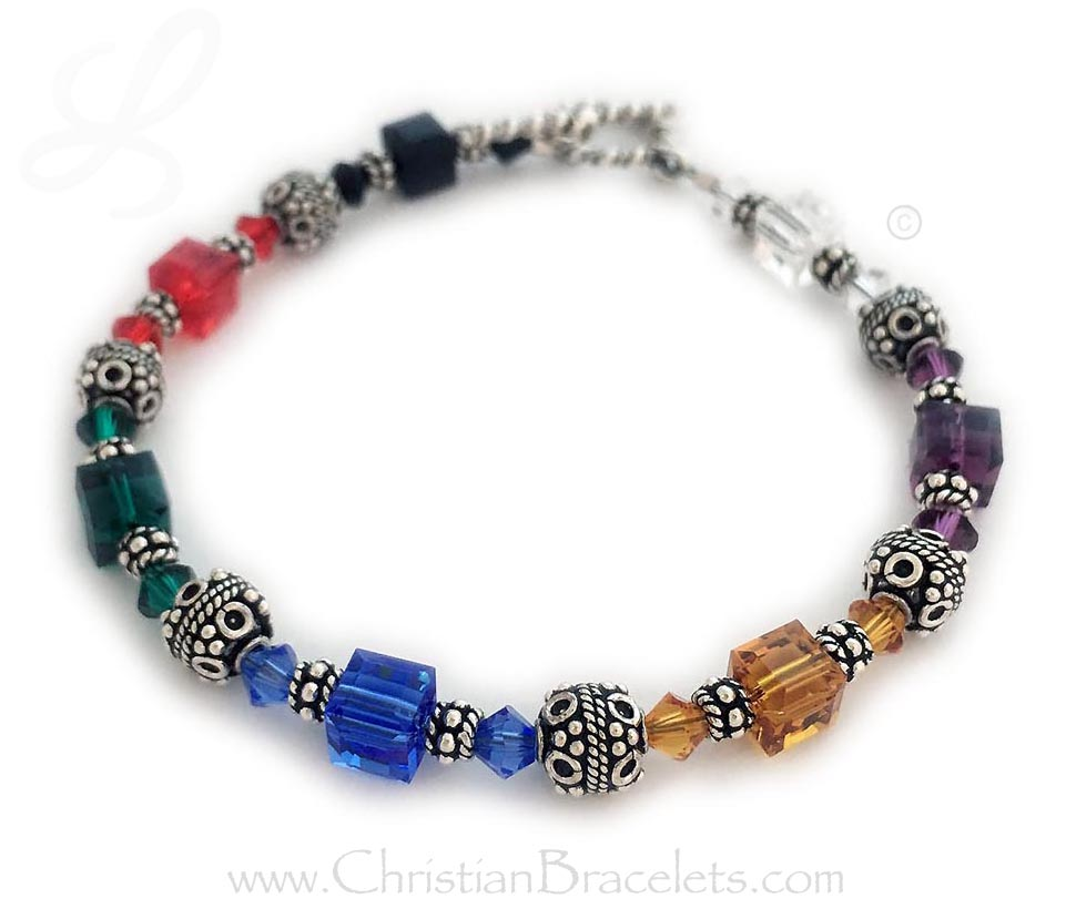 "Salvation Bracelet - size 7 1/2"" with beautiful Swarovski crystal square beads and diamond beads. Shown on a toggle clasp."
