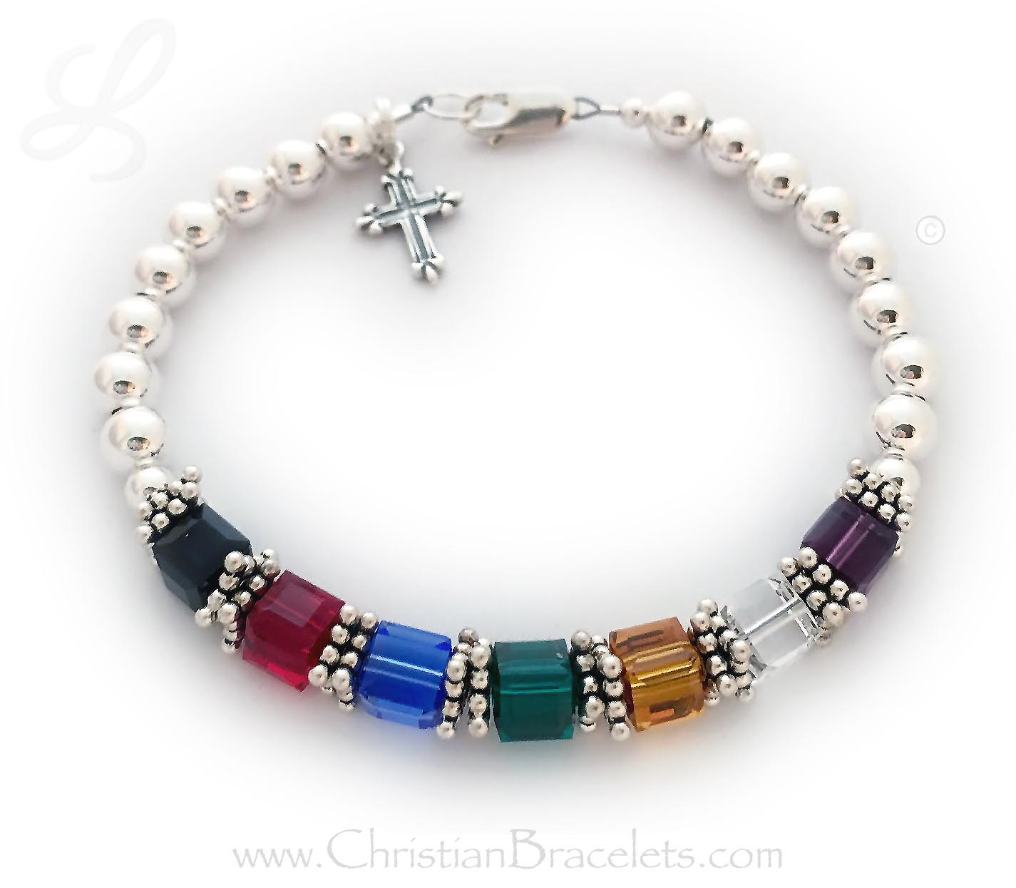 Salvation Bracelet with Square Swarovski Crystals and a cross charm./