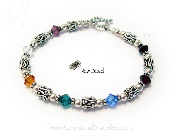 Number 8 Salvation bracelet with 6mm bicone Swarovski crystals