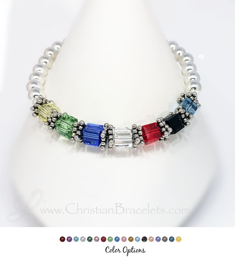 CB-Sal3  CB Salvation Bracelet 3  6mm Square Silver Salvation Bracelet.  ***Shown with special colors: Yel, L-Green,D-Blue,Clr,Red,Blk,Blue-Green*** Please abbreviate when ordering as space is limited. Feel free to contact me with any questions or special instructions!