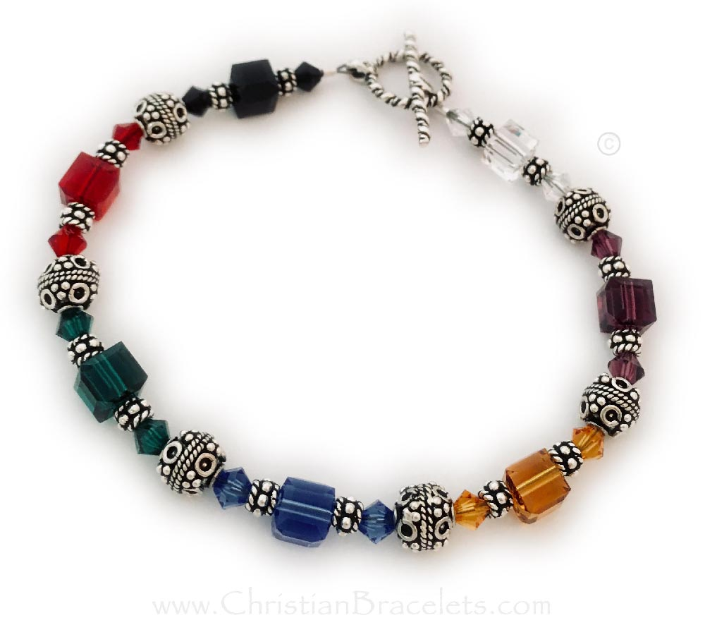 Salvation Bracelets with Colorful Swarovski Crystals - Square and Bicone - 6mm and 4mm