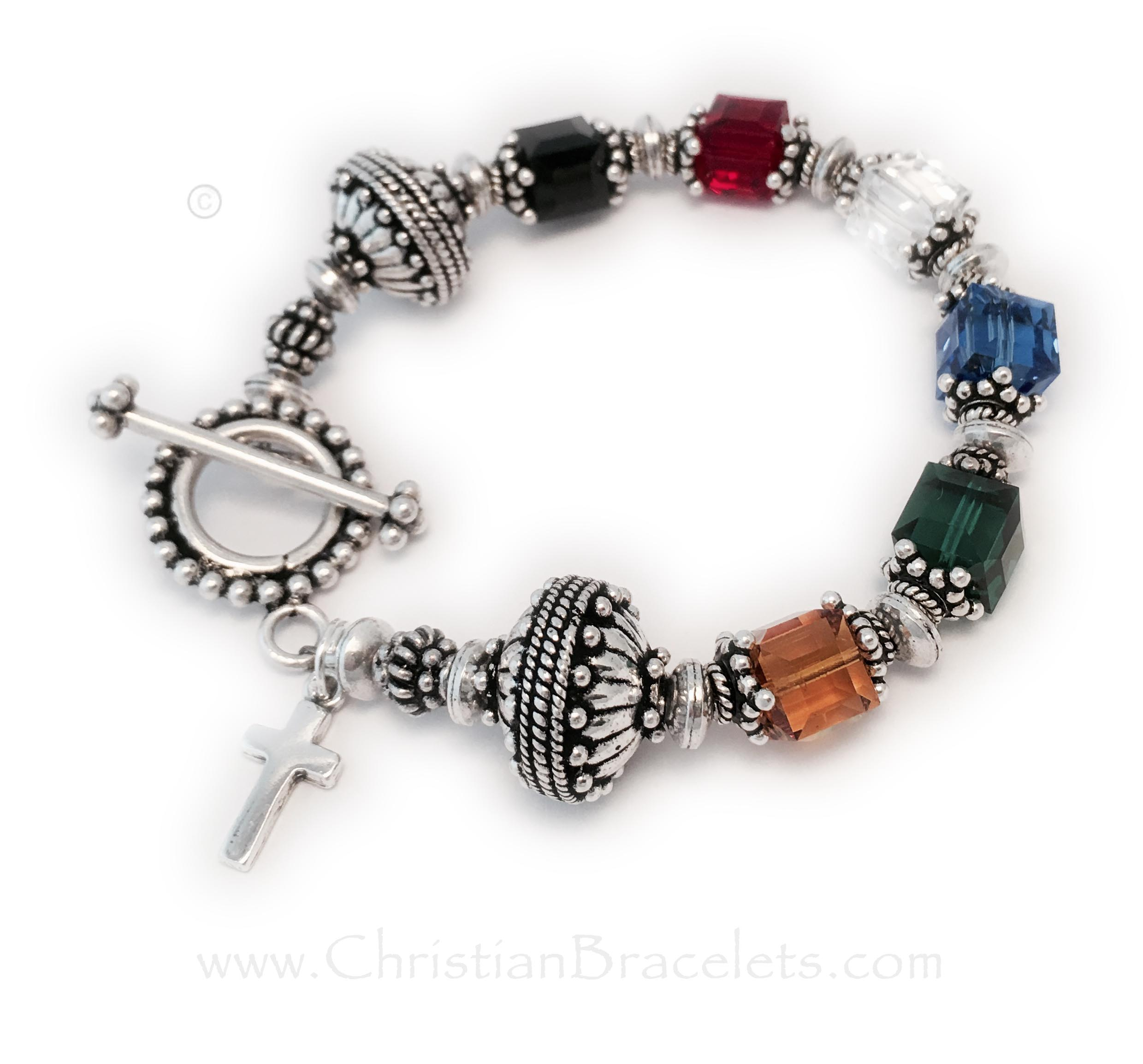 This Big Bali Salvation Bracelet #2 is shown with an upgraded Beaded Toggle Clasp and they added a Simple Cross Charm.