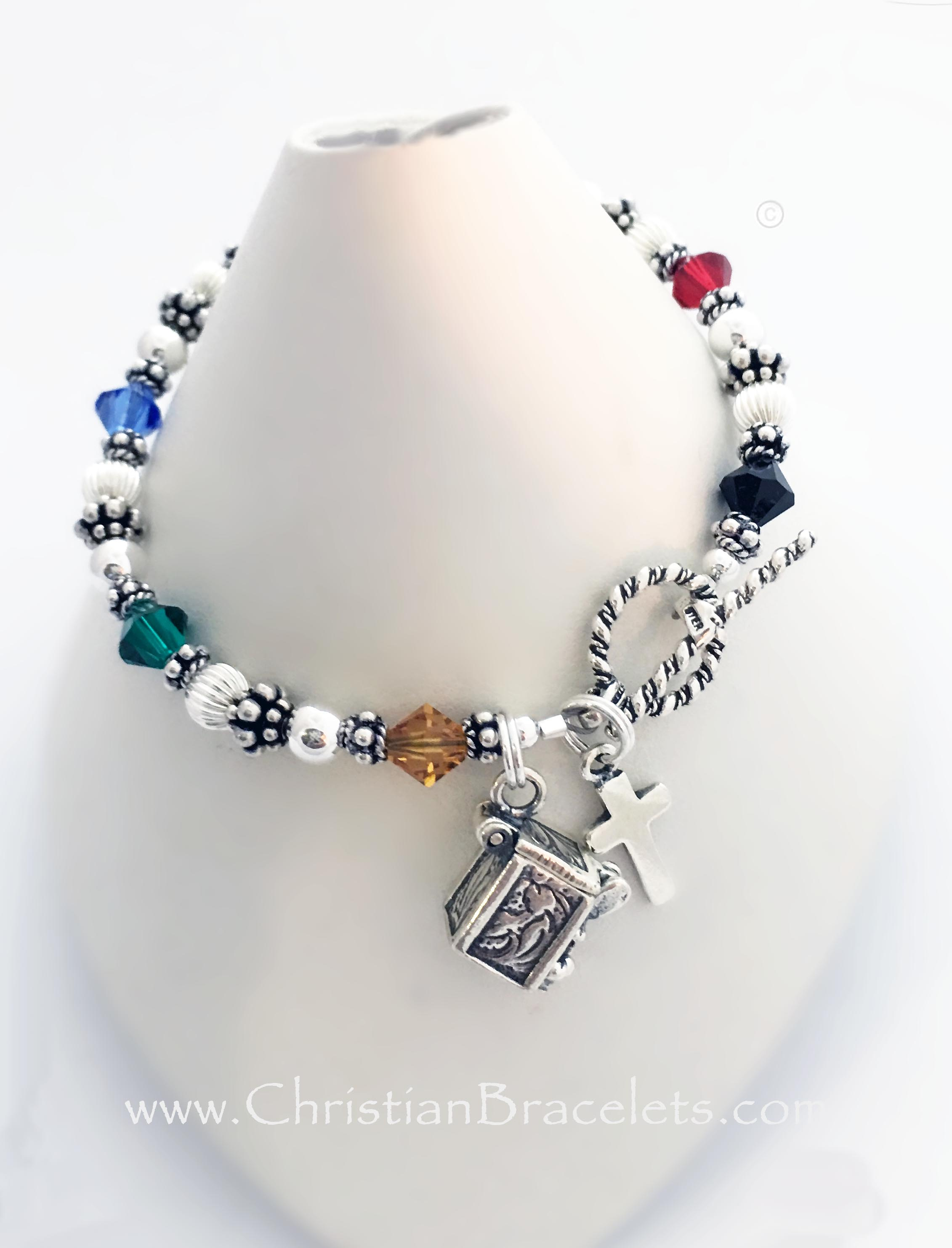 Bali Bicone Salvation Bracelet with a Cross Charm and a Twisted Toggle Clasp.CB-Salvation-5-Sterling-Silver*Shown with 1 add-on charm: Prayer Box Charm*