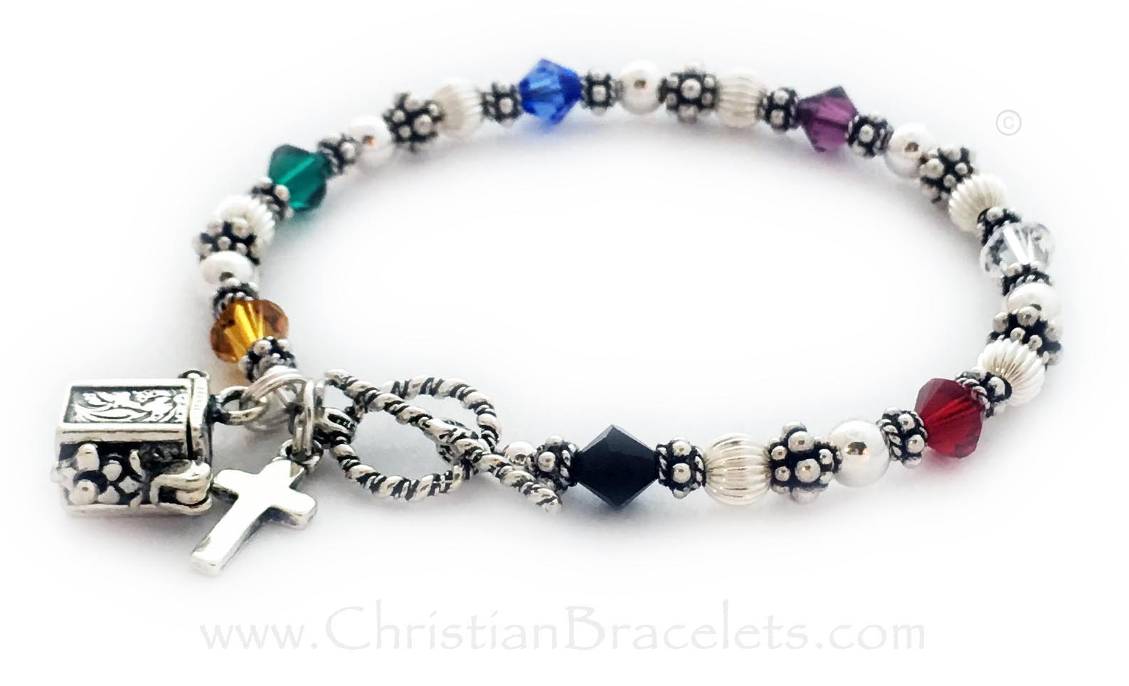 Bali Bicone Salvation Bracelet with a Cross Charm.CB-Salvation-5-Sterling-Silver*Shown with 1 add-on charm: Prayer Box Charm*