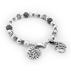 WWBD Bracelet with a TREE OF LIFE charm and an OM charm.