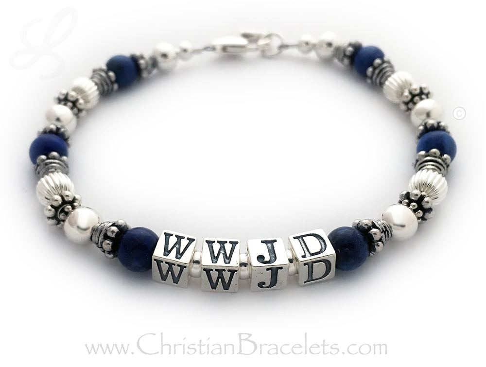 "This WWJD or What Would Jesus Do Bracelet is shown with an upgraded Heart Lobster claw clasp and an add-on Prayer Box Charm. Size: 8 1/4"" (Extra Large)"