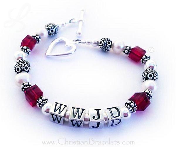 Red What Would Jesus Do Bracelet with an upgraded Heart toggle clasp - CB-WWJD-8