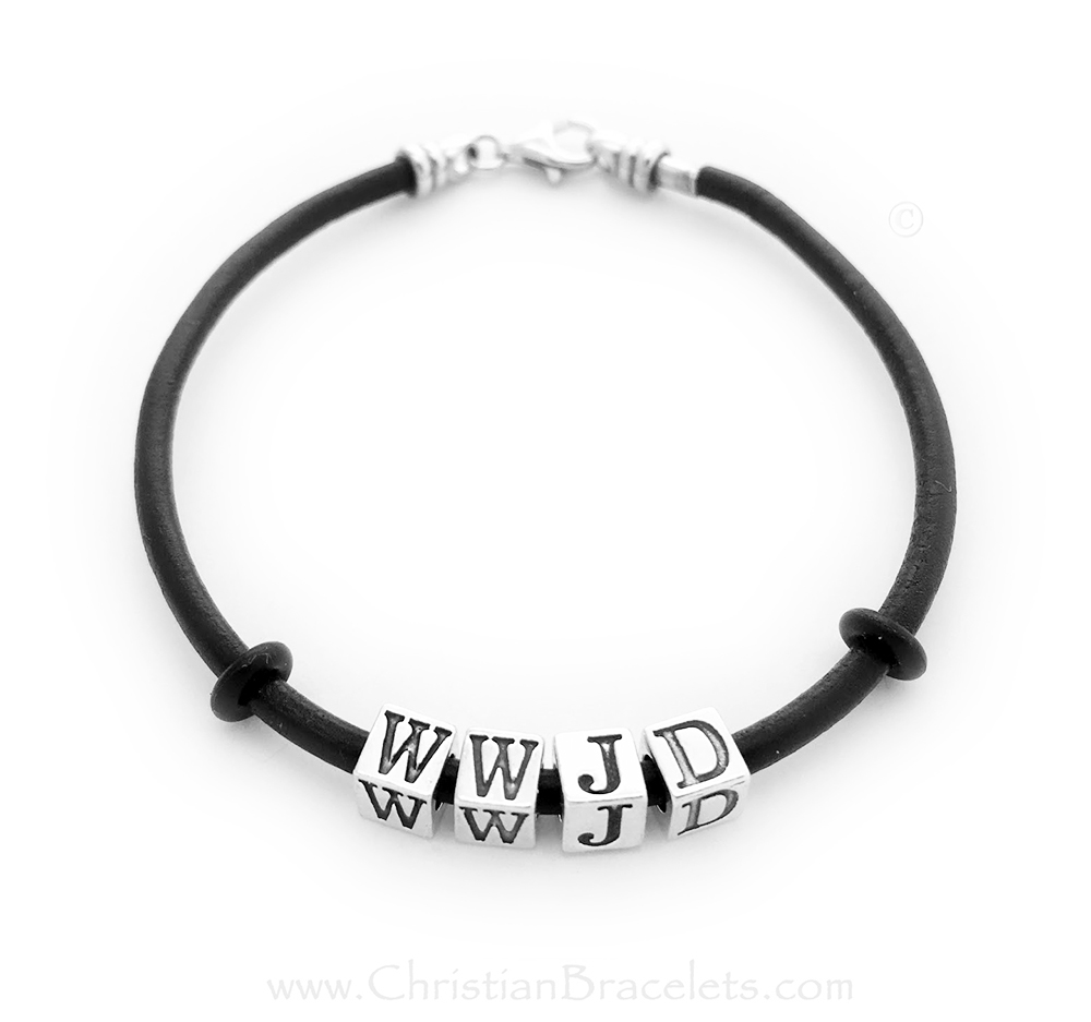 WWJD on a leather corded bracelet with sterling silver letters WWJD and a sterling silver clasp - CB-WWJD-4