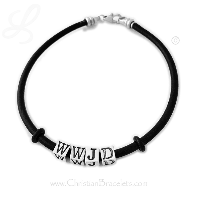"WWJD Leather Cord BraceletThis bracelet has 4 letters/symbols. Shown on an 8 1/2"" leather and sterling bracelet. Shown with free ""stoppers"" that can be MOVED anywhere on the bracelet (or taken off)."