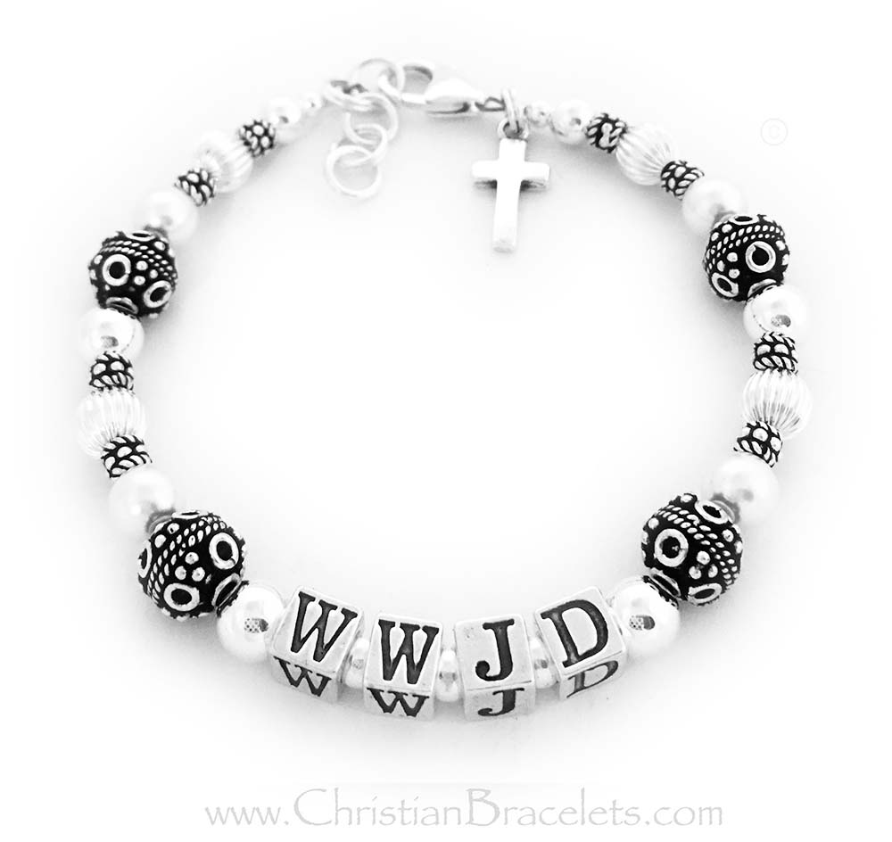 CB- WWJD-1  WWJD Bracelet shown with and add-on Sterling Silver Simple Cross Charm and  a upgraded Lobster Claw Clasp with an Extension.