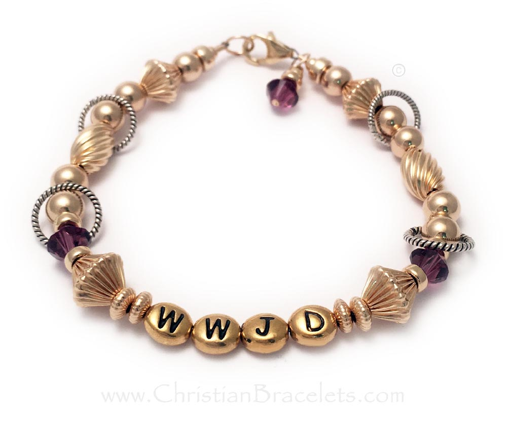 Gold What Would Jesus Do Bracelet with Amethyst Birthstone Crystals, a Birthstone Crystal Dangle with a Lobster Claw Clasp.